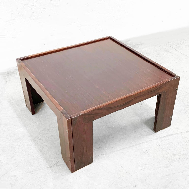 Wood Afra and Tobia Scarpa, Square Table, for Cassina, Italy, 1970s For Sale