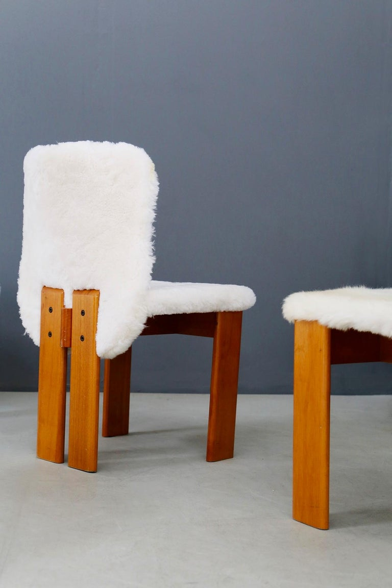 Italian Afra e Tobia Scarpa Set of Six Chair Midcentury in Fur and Wood, 1970s For Sale