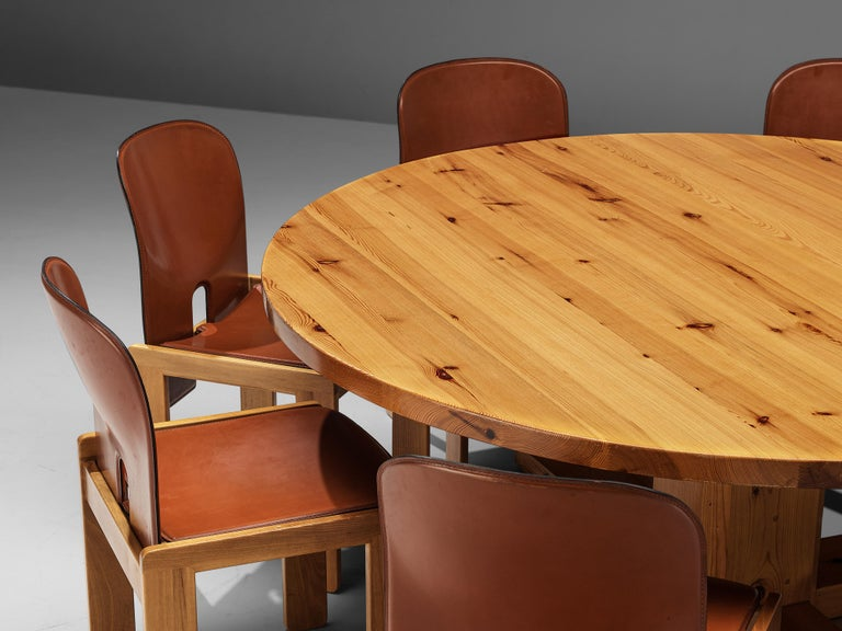 Afra & Tobia Scarpa '121' Dining Chairs and a Large Spanish Dining Table in Pine For Sale 1