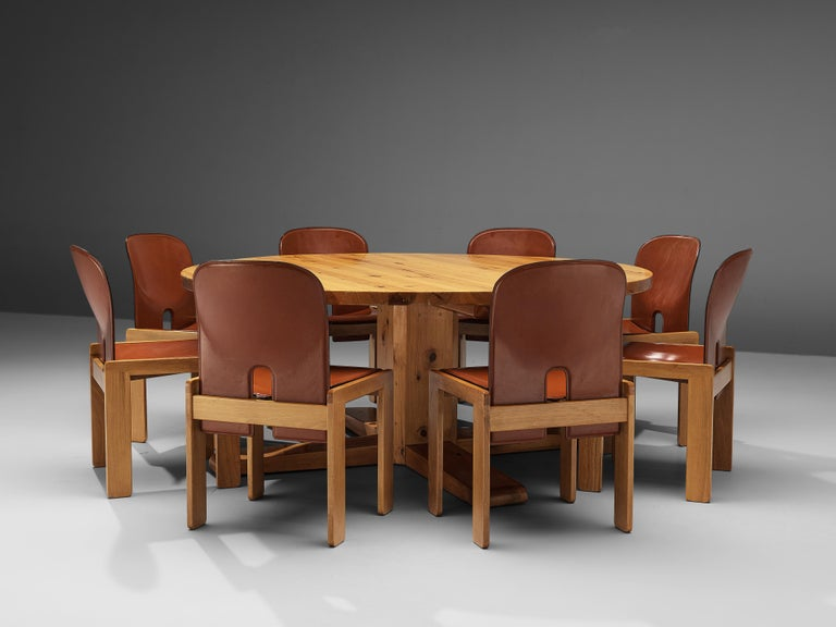 Afra & Tobia Scarpa '121' Dining Chairs and a Large Spanish Dining Table in Pine For Sale 3