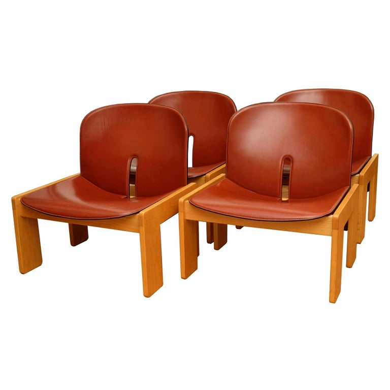Afra & Tobia Scarpa, a Set of Four Lounge Chairs, Model 925, Cassina, 1960s For Sale