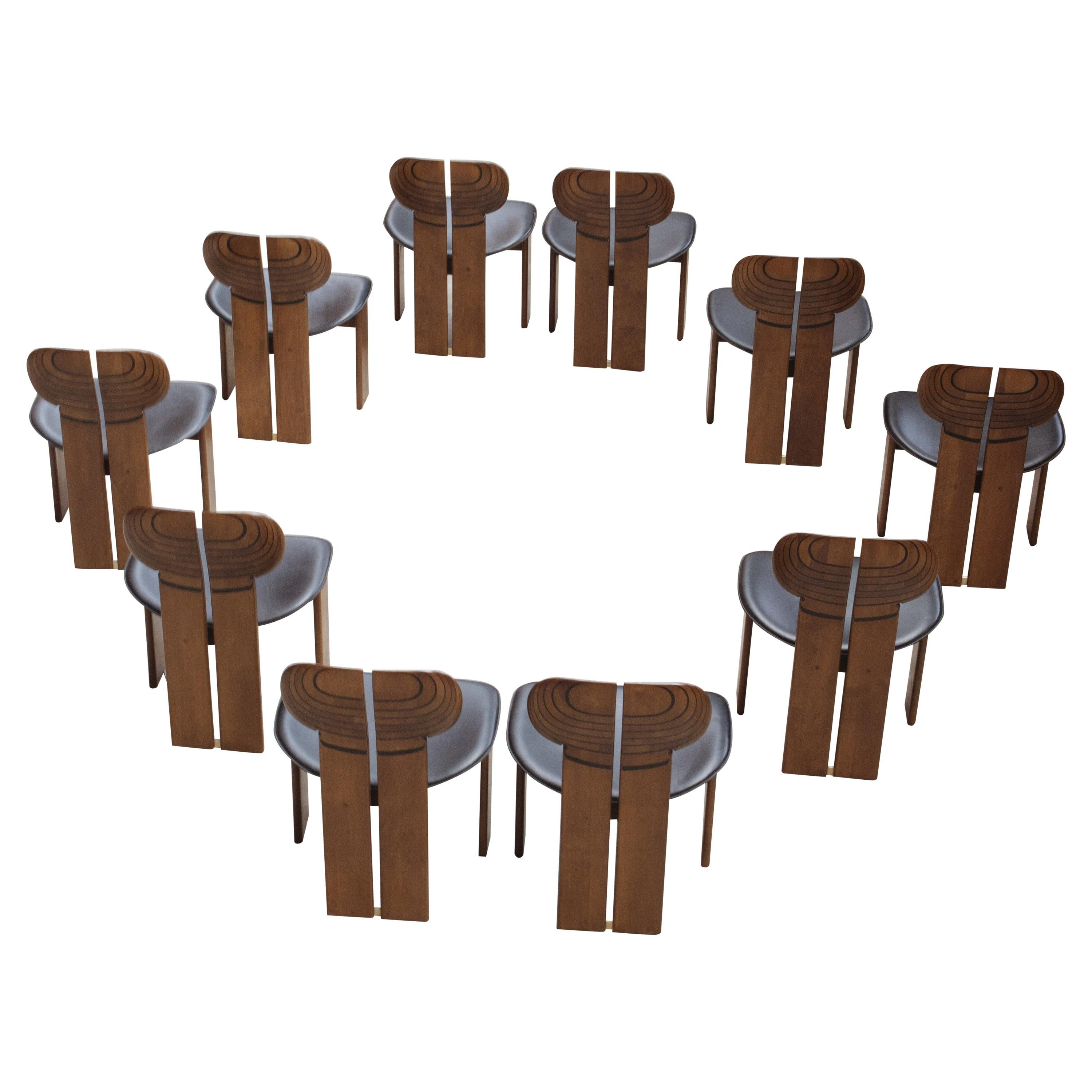 """Afra & Tobia Scarpa """"Africa"""" Dining Chairs for Maxalto, 1975, Set of 10"""