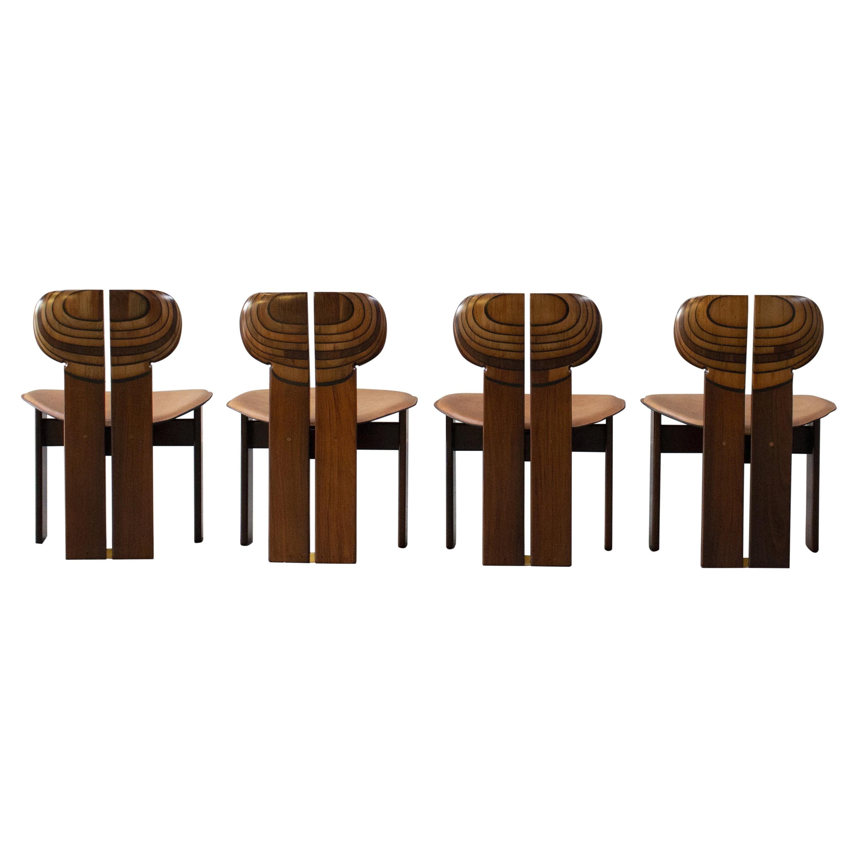 """Afra & Tobia Scarpa """"Africa"""" Dining Chairs for Maxalto, 1975, Set of 4"""
