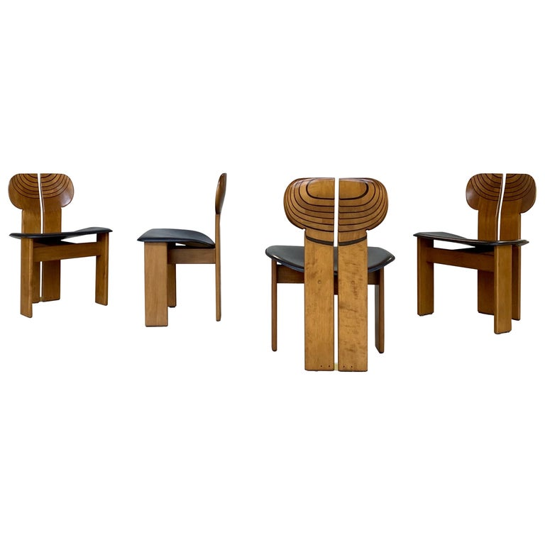 Afra and Tobia Scarpa for Maxalto Africa dining chairs, 1975, offered by Modernab Gallery
