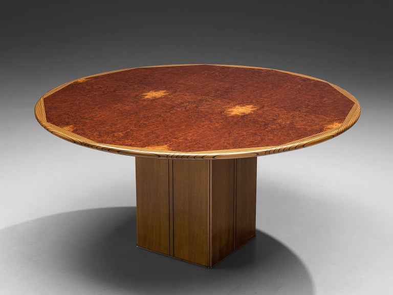 Afra & Tobia Scarpa from Maxalto, dining table from the Africa series, burl, walnut, ebony, Italy, 1975.  This table is by Afra & Tobia Scarpa and is titled 'Africa' and is part of the Artona collection by Maxalto. The table is designed with a