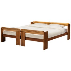 Afra & Tobia Scarpa 'Artona' Bed in Walnut and Leather