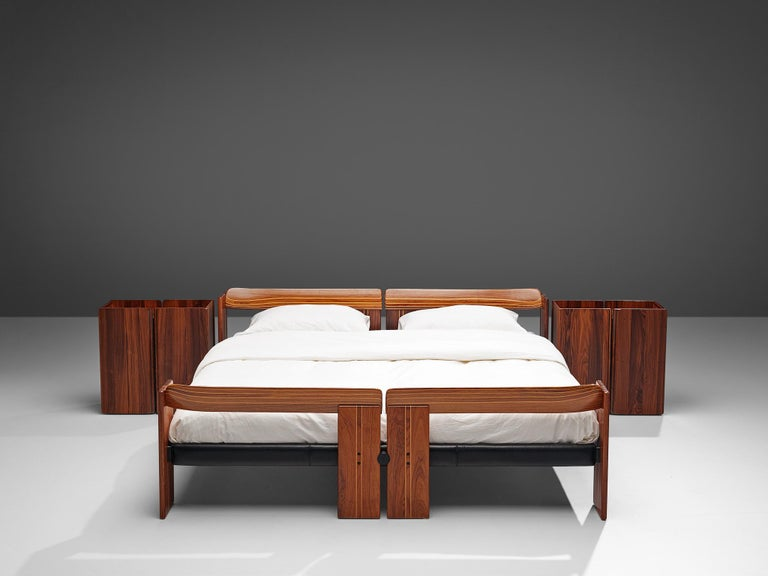 Afra & Tobia Scarpa, 'Artona' bed with nightstands, rosewood and metal, Italy, 1975.  The Artona line by the Scarpa duo was in fact the first line ever produced by Maxalto, the specialist division of B&B Italia. Maxalto was originally set up in