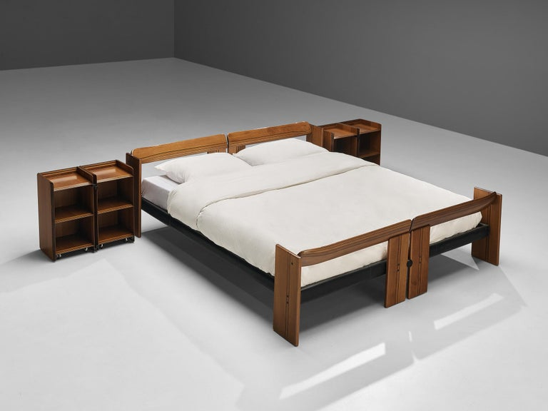 Afra & Tobia Scarpa, 'Artona' bed with nightstands, walnut, metal, Italy, 1975.  The Artona line by the Scarpa duo was in fact the first line ever produced by Maxalto, the specialist division of B&B Italia. Maxalto was originally set up in 1975 as