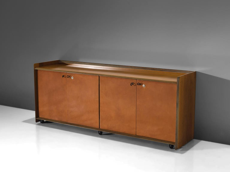 Afra & Tobia Scarpa, Artona cabinet, walnut and four leather doors, Italy, circa 1975