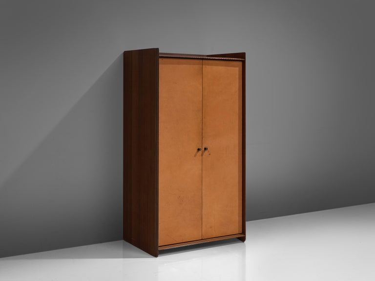 Afra & Tobia Scarpa, 'Artona' cabinet, walnut and cognac leather, Italy, circa 1975