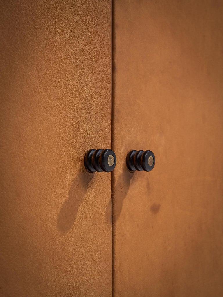 Mid-Century Modern Afra & Tobia Scarpa 'Artona' Leather Cabinet For Sale