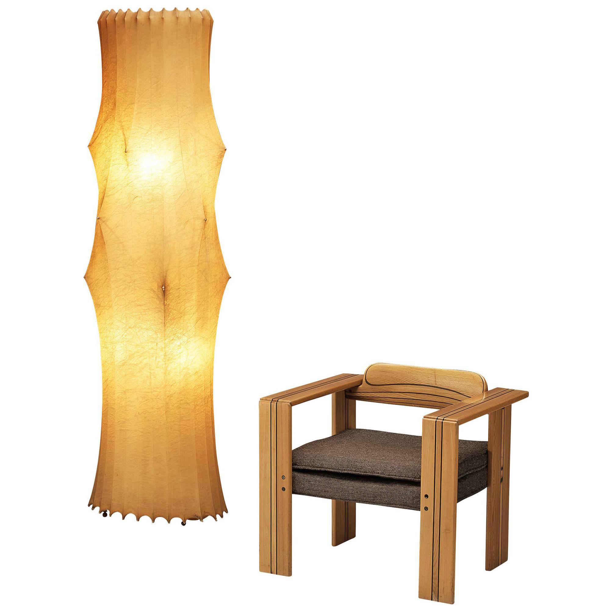 Afra & Tobia Scarpa 'Artona' Lounge Chair in Walnut and 'Fantasma' Floor Lamp