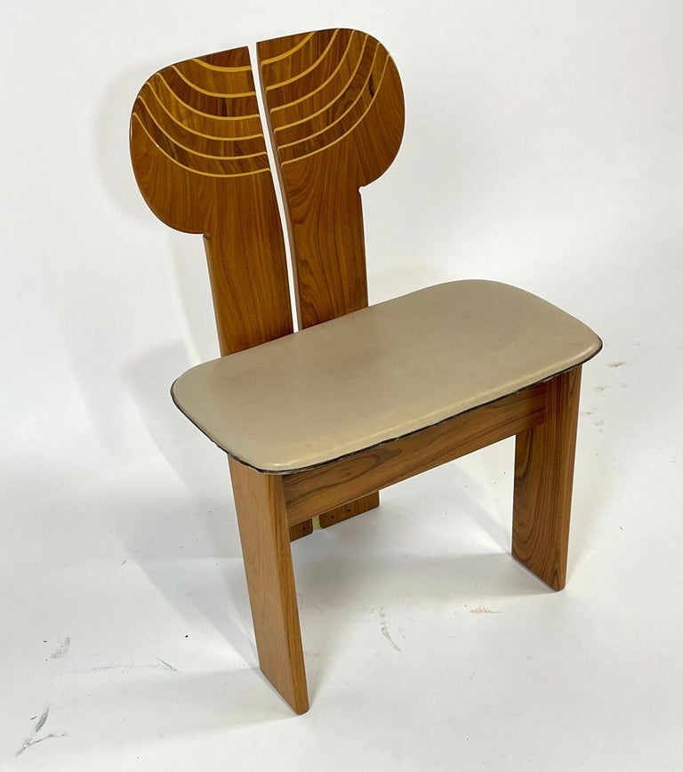 Carved Afra & Tobia Scarpa Artona Series 'Africa' Chairs Produced, Maxalto 4 Available For Sale