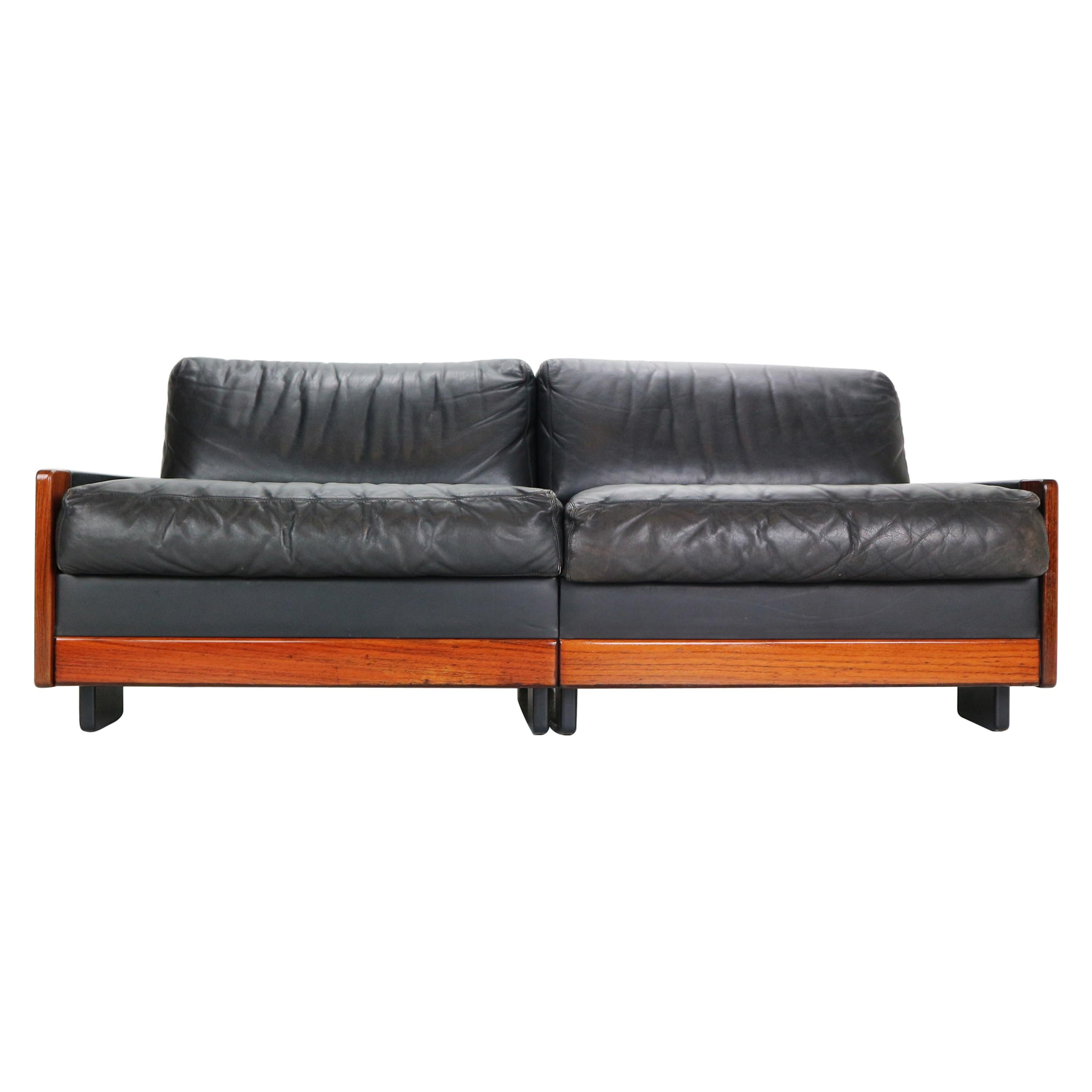 Afra & Tobia Scarpa Black Leather 2-Seat Sofa for Cassina Model-920, 1960s