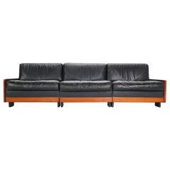 Afra & Tobia Scarpa Black Leather 3-Seat Sofa for Cassina Model-920, 1960s