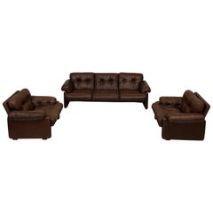 Afra & Tobia Scarpa Brown Leather Coronado Living Room Set for C&B Italia, 1969