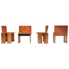 Afra & Tobia Scarpa Cognac Dining Chairs
