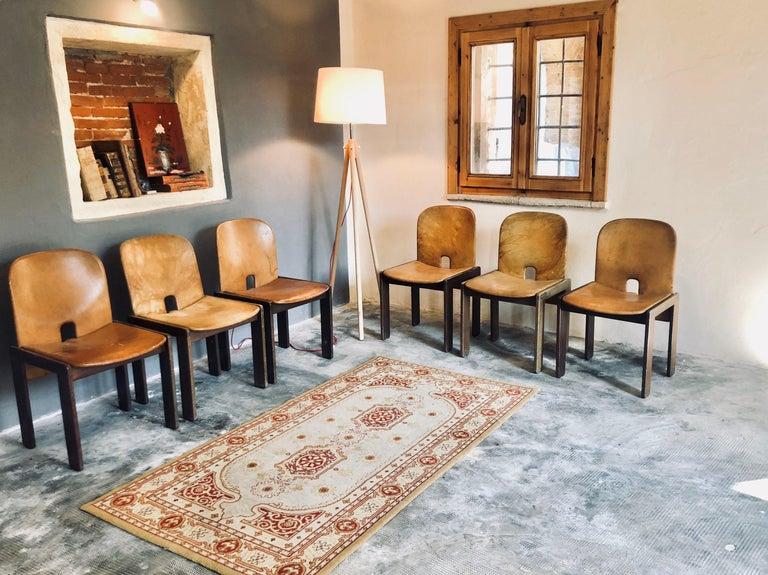 Italian Set of Six Cognac Leather