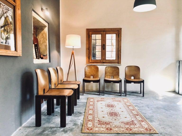Mid-20th Century Set of Six Cognac Leather