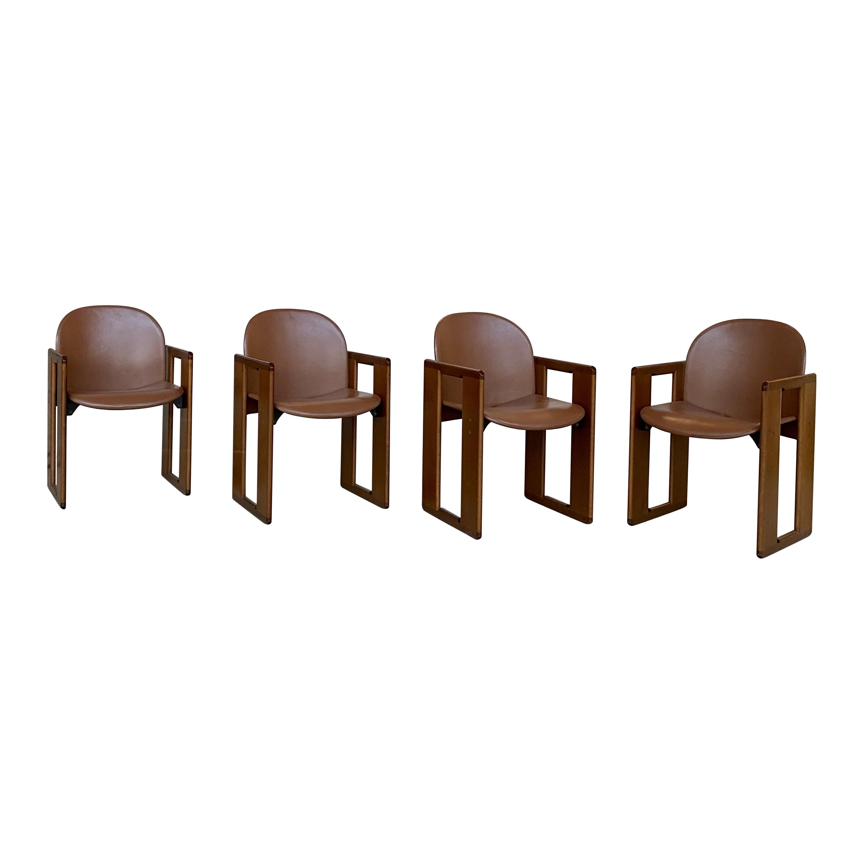 "Afra & Tobia Scarpa ""Dialogo"" Dining Chairs for B&B Italia, 1974, Set of 4"