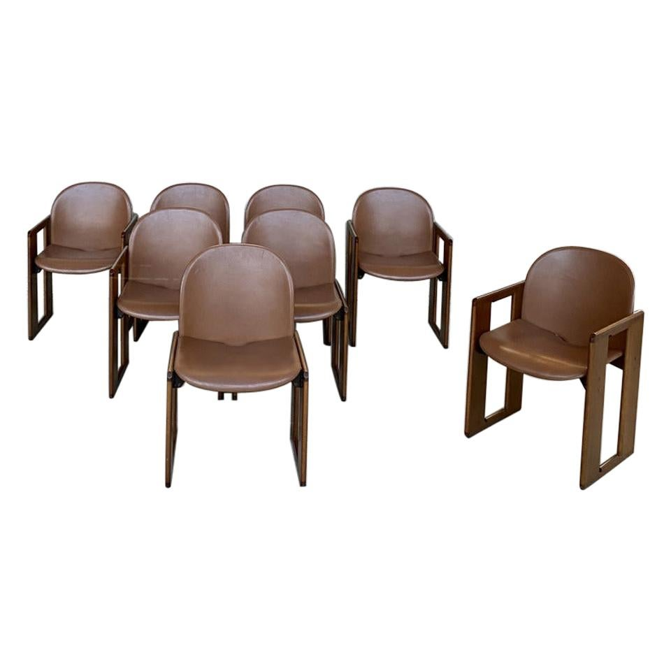 "Afra & Tobia Scarpa ""Dialogo"" Dining Chairs for B&B Italia, 1974, Set of 8"