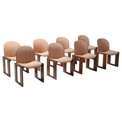 Afra & Tobia Scarpa for Cassina, Set of 8 Chairs Model 121, Wood and Walnut