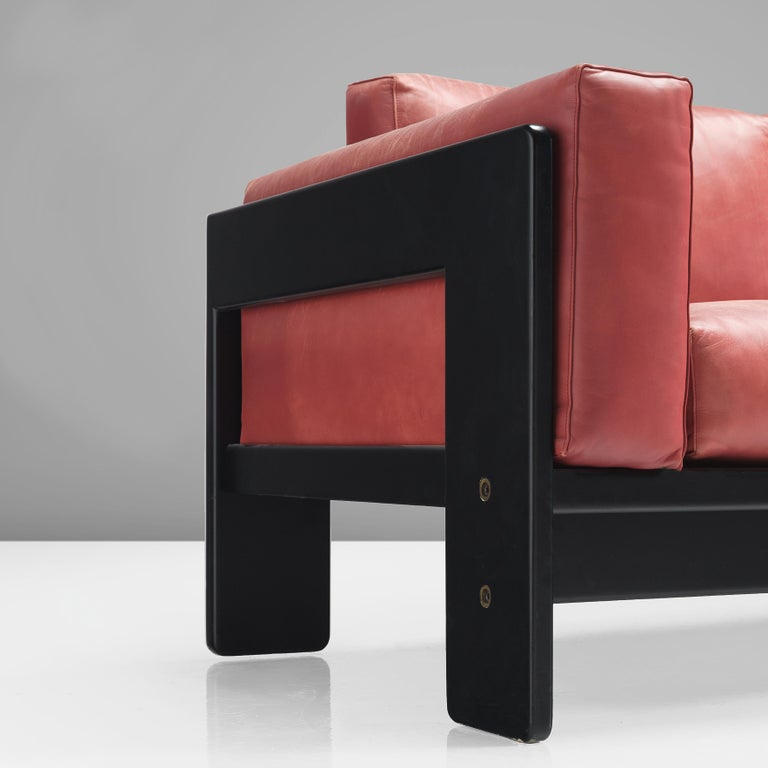 Mid-Century Modern Afra & Tobia Scarpa for Knoll 'Bastiano' Four-Seat Sofa in Red Leather For Sale