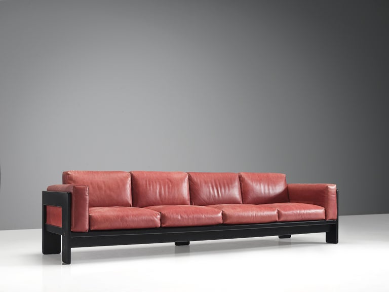 Italian Afra & Tobia Scarpa for Knoll 'Bastiano' Four-Seat Sofa in Red Leather For Sale