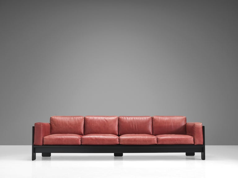 Mid-20th Century Afra & Tobia Scarpa for Knoll 'Bastiano' Four-Seat Sofa in Red Leather For Sale