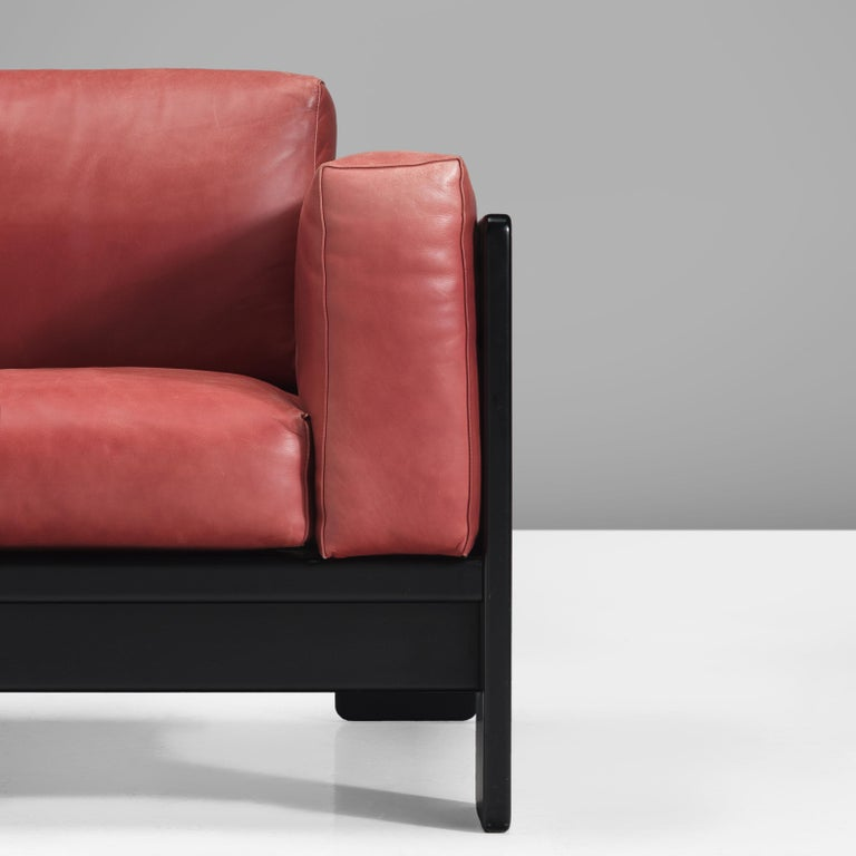 Afra & Tobia Scarpa for Knoll 'Bastiano' Four-Seat Sofa in Red Leather For Sale 1