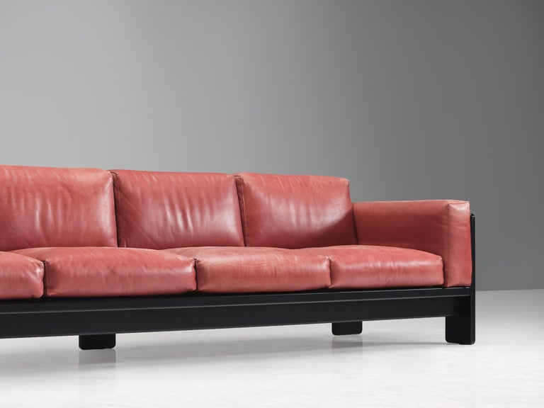 Afra & Tobia Scarpa for Knoll 'Bastiano' Four-Seat Sofa in Red Leather For Sale 3