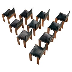 Afra & Tobia Scarpa for Molteni 'Monk' Dining Chairs in Black Leather