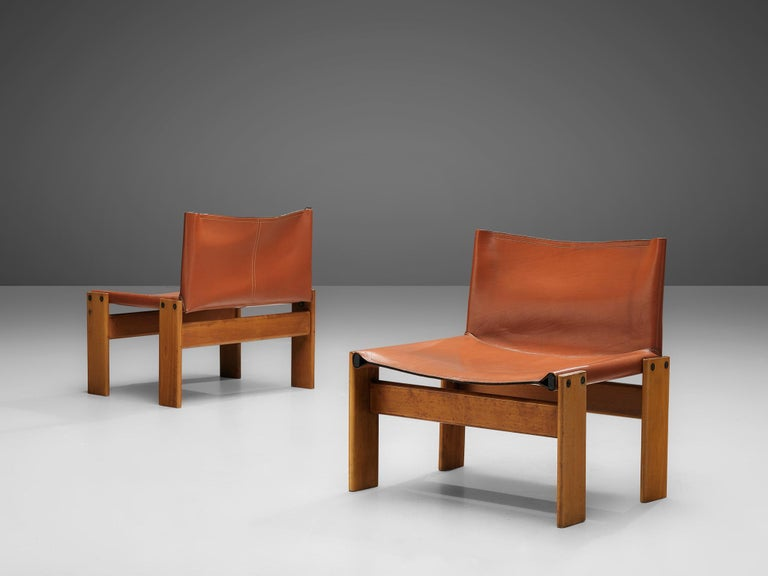 Mid-Century Modern Afra & Tobia Scarpa for Molteni Pair of 'Monk' Lounge Chairs For Sale