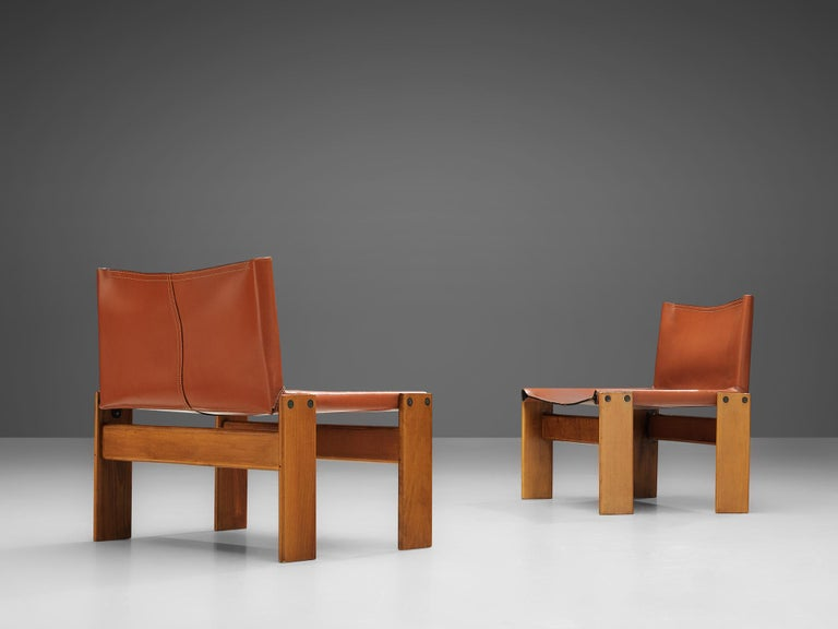 Afra & Tobia Scarpa for Molteni Pair of 'Monk' Lounge Chairs In Good Condition For Sale In Waalwijk, NL