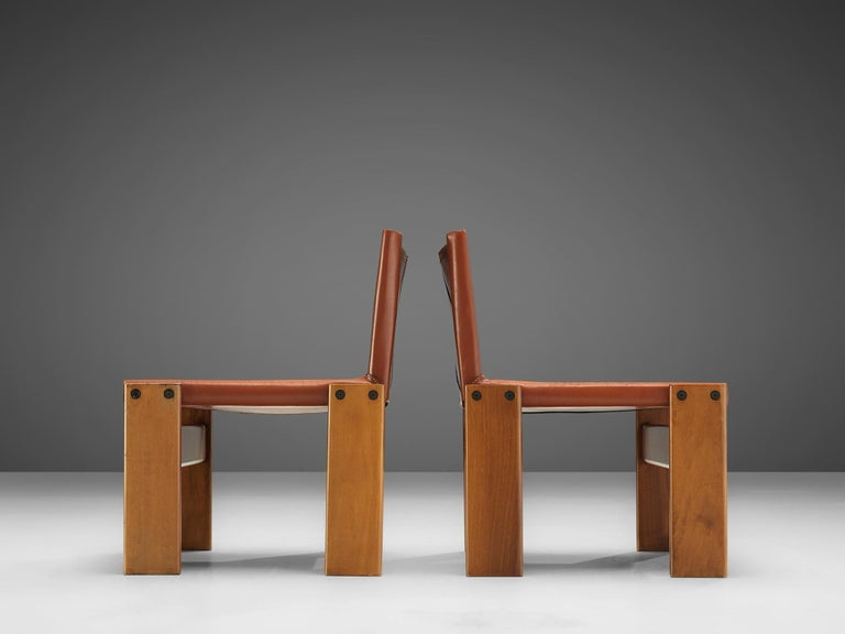 Leather Afra & Tobia Scarpa for Molteni Pair of 'Monk' Lounge Chairs For Sale
