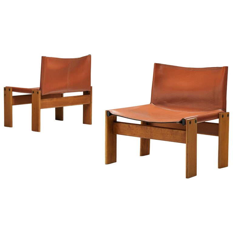 Afra & Tobia Scarpa for Molteni Pair of 'Monk' Lounge Chairs For Sale