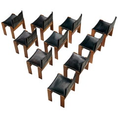 Afra & Tobia Scarpa for Molteni Set of 10 Monk Chairs in Black Leather