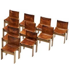 Afra & Tobia Scarpa for Molteni Set of 10 Monk Chairs in Cognac Leather