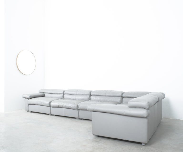 Grey modular leather sofa designed by Afra & Tobia Scarpa Grey for B&B Italia, 1976