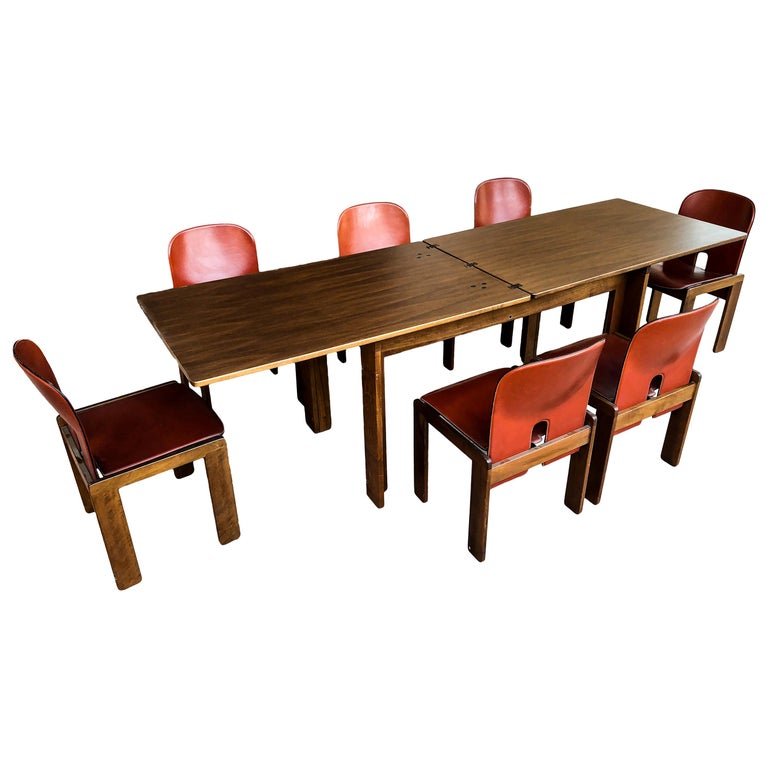 """Afra & Tobia Scarpa Midcentury """"121"""" and """"778"""" Dining Room Set for Cassina, 1967 For Sale"""