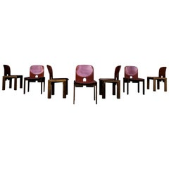 """Afra & Tobia Scarpa Midcentury """"121"""" Dining Chair for Cassina, 1967, Set of 7"""