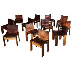 """Afra & Tobia Scarpa Midcentury """"Monk"""" Dining Chair for Molteni, 1973, Set of 12"""