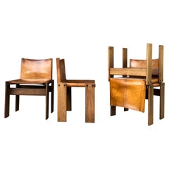 "Afra & Tobia Scarpa Midcentury ""Monk"" Dining Chair for Molteni, 1973, Set of 4"