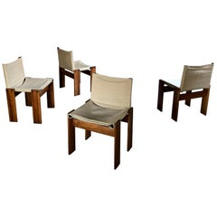 """Afra & Tobia Scarpa Midcentury """"Monk"""" Dining Chair for Molteni, 1973, Set of 4"""