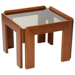 Afra & Tobia Scarpa Midcentury Squared Wood Italian Coffee Table, 1970s