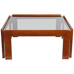 Afra & Tobia Scarpa Midcentury Wood Squared Italian Coffee Table, 1960s