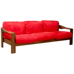 Afra & Tobia Scarpa Modern Sofa in Walnut and Fabric Original Condition, 1980s