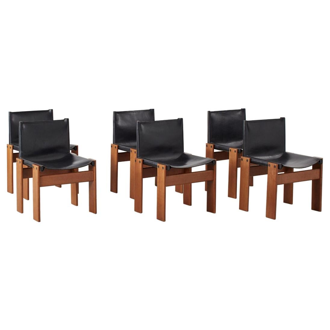Afra & Tobia Scarpa Monk Black Chairs for Molteni, Italy 1974 4 Available