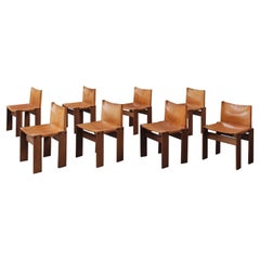 """Afra & Tobia Scarpa """"Monk"""" Chairs by Molteni in Cognac Leather, 1974, Set of 8"""