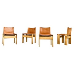"Afra & Tobia Scarpa ""Monk"" Dining Chairs for Molteni, 1973, Set of 4"